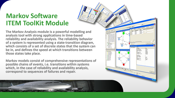 Markovian analysis software for time-based reliability and availability analysis.
