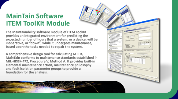 Maintainability software for mean time to repair calculation and system unavailability.